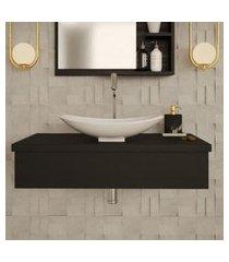 conjunto para banheiro bancada com cuba l45 canoa city 800 preto ônix