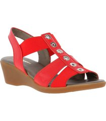 sandalia cuero very well rojo hush puppies