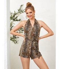monos sin espalda con diseño de lazo sin espalda de leopardo con cuello halter marrón