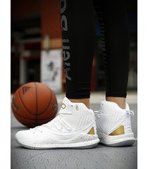 zapatillas de baloncesto transpirables antideslizantes informales de alta ayuda para hombre