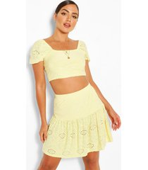 broderie anglaise gypsy top & skirt co-ord, lemon