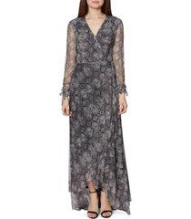 betsey johnson snake-embossed wrap maxi dress