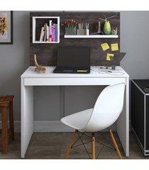 mesa escrivaninha first 1 gaveta branco/terrano - artany