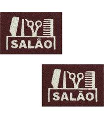 2 capachos p/ porta decorativo 60x1,2m salao46 - marrom - feminino - dafiti