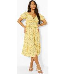 bloemenpatroon midi jurk met ruches, yellow