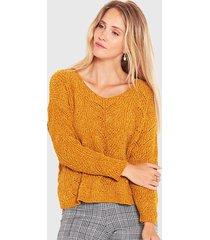 sweater wados  trenzado amarillo - calce regular