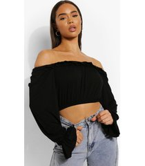 off shoulder top met ruches, black