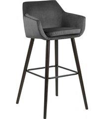stołek barowy kelly welwet dark grey