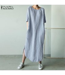 zanzea para mujer cuello redondo de algodón camisa de la playa de split de vestir de las señoras vestidos largos maxi -gris azulado