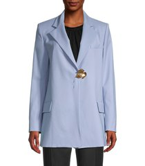 oscar de la renta women's notch lapel stretch wool blazer - blue - size 8