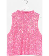 womens drop arm sequin top - hot pink