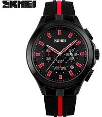reloj de cuarzo calendario multifuncional-rojo