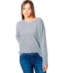 blusa amplia con cortes mujer tela  rayas para mujer color siete - azul