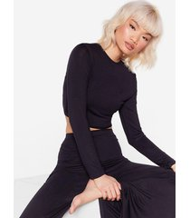 womens sleepover club wide-leg pajama pants set - black