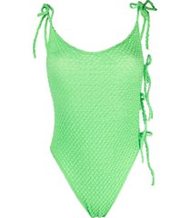ack textured slim-cut swimsuit - green