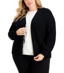 alfani plus size volume-sleeve chunky-stitch cardigan, created for macy's