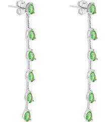 brinco piuka chiara esmeralda folheado ródio feminino