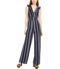 almost famous juniors' ruffled open-back jumpsuit