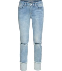 jeans skinny cropped con inserto (blu) - rainbow