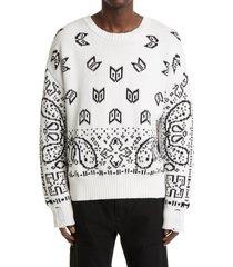 men's rhude bandana jacquard distressed cotton & cashmere sweater, size x-large - white