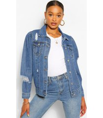 denim puff sleeve distressed jean jacket, mid blue