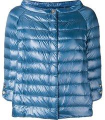 herno wide boat neck jacket - blue