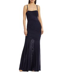 sleeveless draped tulle gown