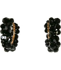 medium wiggle crystal hoop earring in black