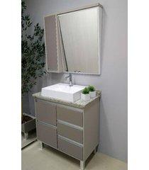 conjunto de banheiro são joão bastille, nude e taupe, 80 cm
