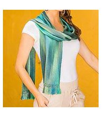 rayon chenille scarf, 'iridescent emerald' (guatemala)