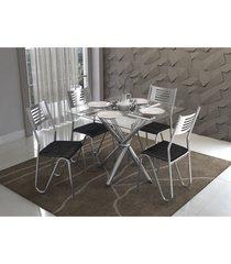 conjunto mesa volga com 4 cadeiras napoles preto e cromado kappesberg crome