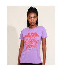 t-shirt feminina de banda mindset the rolling stones manga curta decote redondo roxa