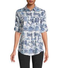 karl lagerfeld paris women's whimsical printed shirt - white marine - size m