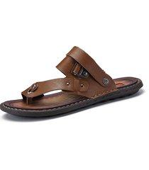 sandali casual da uomo in pelle microfibra di grandi dimensioni