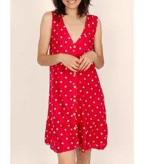 korte jurk admas italiaanse dots rode zomerjurk