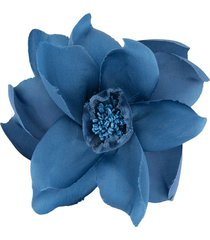 alexander mcqueen flower pin brooch - blue