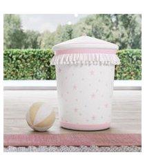lixeira bebe menina estrelinhas e pompons rosa grão de gente rosa