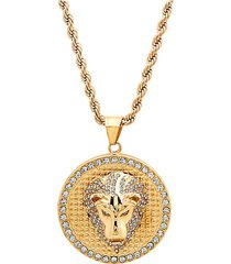 18k goldplated stainless steel & diamond lion head pendant necklace