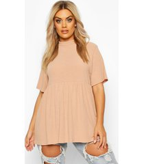 plus high neck rib knitted smock top, stone