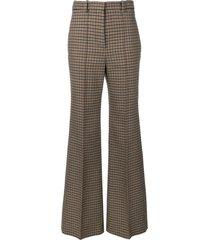 victoria beckham tweed wide leg trousers - black