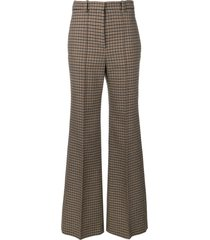 victoria beckham tweed wide leg trousers - black