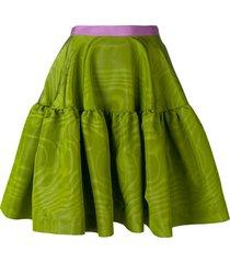 talbot runhof tiered a-line skirt - green