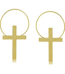 brinco argola com crucifixo 3rs semijoias dourado