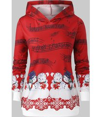 plus size musical notes snowman print christmas hoodie