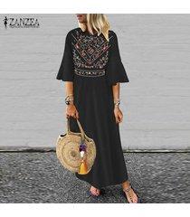 zanzea de las nuevas mujeres de boho floral de la playa de vacaciones en long señoras vestido maxi vestidos vestido de tirantes -negro