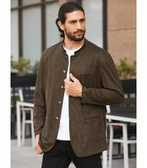 abrigo de manga larga con cuello alto de gamuza sintética para hombre