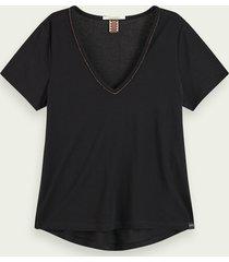 scotch & soda t-shirt met korte mouwen en metallic v-hals