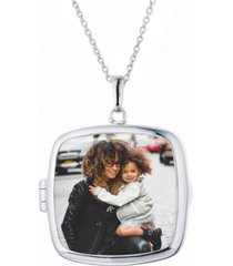 with you lockets katie square glass photo locket necklace in sterling silver