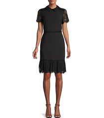 collared lace-trim dress