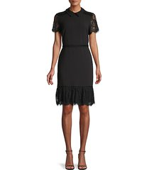 collared lace-trim dress